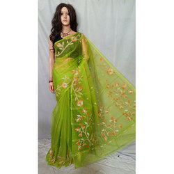 Green Muslin Resom Saree
