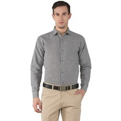 Khadi Long Sleeve Micro Check Grey Shirt, Size: 38 to 46