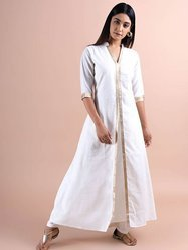 Plain Ethnic Wear Indian Ethnic Long Cotton Kurti With Pant