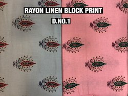 Polyester Rayon Linen Block Print Fabric, GSM: 100-150