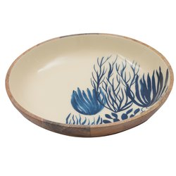 Handmade Blue and White Print Wooden Bowl