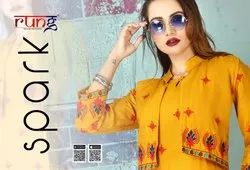 Spark-Rung Party Wear Designer Heavy Slub Rayon Kurtis With Embroidery Work