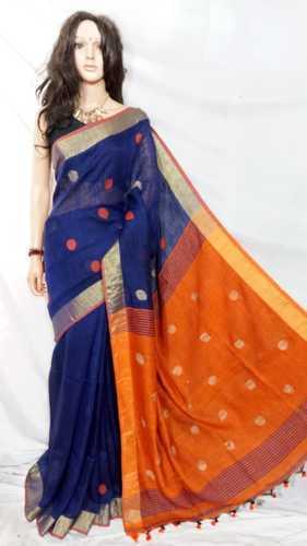 47f8350c7f Linen Blue & Orange Designer Ethnic Handloom Saree, Rs 2850 /piece ...