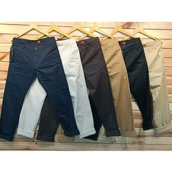 Cotton Regular Wear Mens Chinos Side Pocket Trousers Pants, Size: 28-36