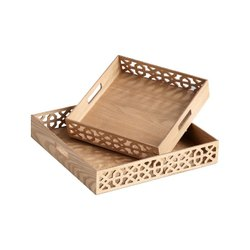 Brown MDF Wooden Dry Fruit Tray, Size: 8 X 8 Inch, Shape: Rectangle