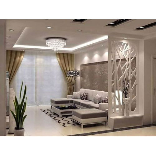 White Drawing Room Wooden Partition Rs 400 Square Feet The Fine