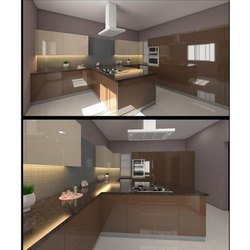 L Shape Wooden Italian Modular Kitchen