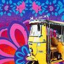 Shekhawati Auto Rickshaw Canvas and Faux Leather Tote Bag