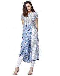 Women Blue Embroidered A-Line Cotton Kurta