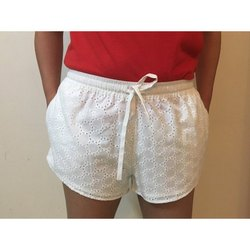 White SKDPW Ladies Cotton Shorts
