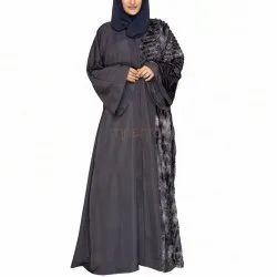 Grey Faux Fur Abaya