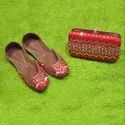 Stone Pipe Punjabi Jutti With Matching Clutch