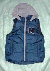 Blue Winter Half Sleeves Jacket with Hoodie