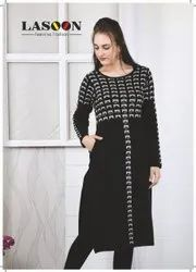 5038 Black Fancy Woolen Kurtis