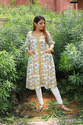 Indian Traditional Hand Made Design Printed Cotton Casual Long Kurti For Women