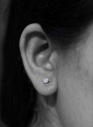 Cubic Zirconia Flower Round Stud Earring