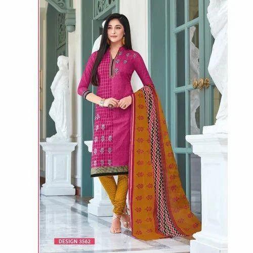 95a33757da Unstitched Zardozi Work Cotton Churidar Suit Salwar, Rs 650 /piece ...