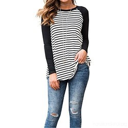 Black And White Cotton Full Sleeves Ladies Top