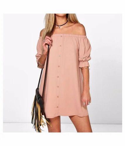 1fd0f93d4202 Light Pink Plain Women Off Shoulder Dresses