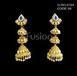Traditional Pearl Hanging Jhumka Earrings