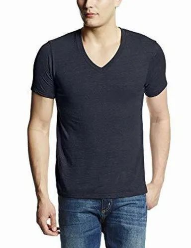 V-Neck Half Sleeve Men Casual Plain T-Shirt