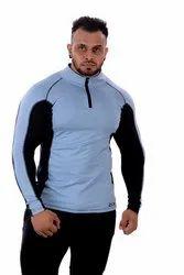 Zesteez Polyester Sky Blue Front Half Zip Tshirt