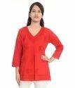 5 Colors Soft Cotton Cloth Ladies Fancy Chikan Short Top