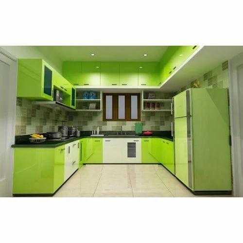 Green Modular Kitchen: Modern White And Green U Shaped Modular Kitchen, Rs 450