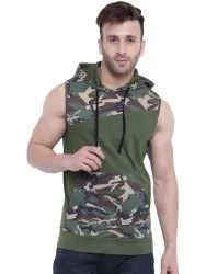 Cotton Sleeveless Army/Olive Green Printed Hooded Vest, Size: S to XL