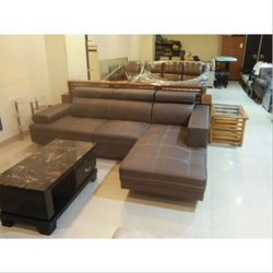 Brown Leather Designer Corner L Shaped Sofa Set, Back Style: Tight Back
