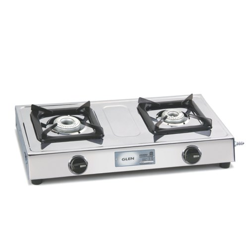 Glen 1020 SS 2 Aluminium Alloy Burner Stainless Steel Cooktop
