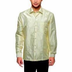 Casual Wear Plain Mens Raw Silk Shirt