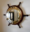 Wooden Ship Wheel Porthole with Face Mirror