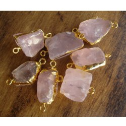 Gold Plated Handmade Rose Quartz Rough Gemstones Connectors