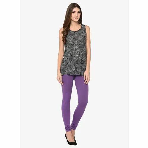 92% Cotton, 8% Spandex Amaya Lavender Churidar Leggings