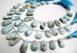 Natural Larimar Plain Smooth Pear Shape Size 9x14mm To 12x25mm Beads