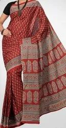 Hand Block Printed Cotton Saree with Blouse Natural Dyeing