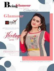 Straight 3/4th Sleeve 12 Angel Heritage Vol 5 Rayon Long Kurti with Palazzo Concept