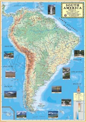 South America Physical For Wall Map Physical at Rs 130 /piece ...