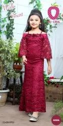 Girl Adorable Maroon Floral Applique Party Gown