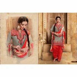 Pakistani Unstitch Cotton Patiala Suit, Handwash