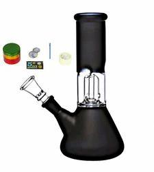 Newzenx Glass Percolator Ice Bong 8 Inches (8 cm x 8 cm x 20 cm, Black) Including Accessories