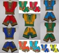 Cotton Casual Wear Dashiki Suit Kids Boys Girl'' Poncho Hippie Shirt & Short