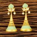 Yellow Matte Gold Plated Kundan Jhumki Earring 300158