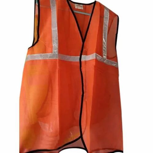 Without Sleeves Net Orange Reflective Safety Jacket, for Sea Patrolling