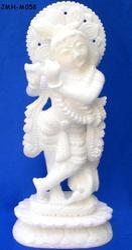Krishna Statue in White Makrana Marble