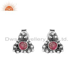 Pink Tourmaline Gemstone Oxidized 925 Silver Stud Earrings