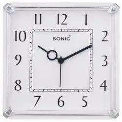 Analog Plastic Sonic Rectangular Designer Wall Clock, Size: 7.5*7.5 Inch