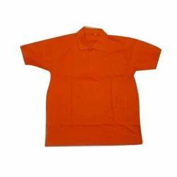 Red Cotton School Collar T Shirt