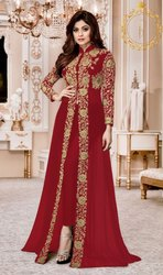 Party Wear Faux Georgette Embroidered Work Semi-Stitched Anarkali Salwar Suit